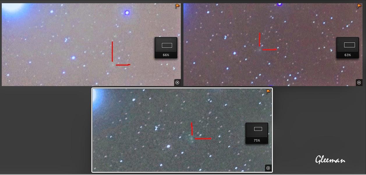 C/2013 UQ4 彗星趴,比對幾張相片可以清楚看到彗星移動的軌跡。
