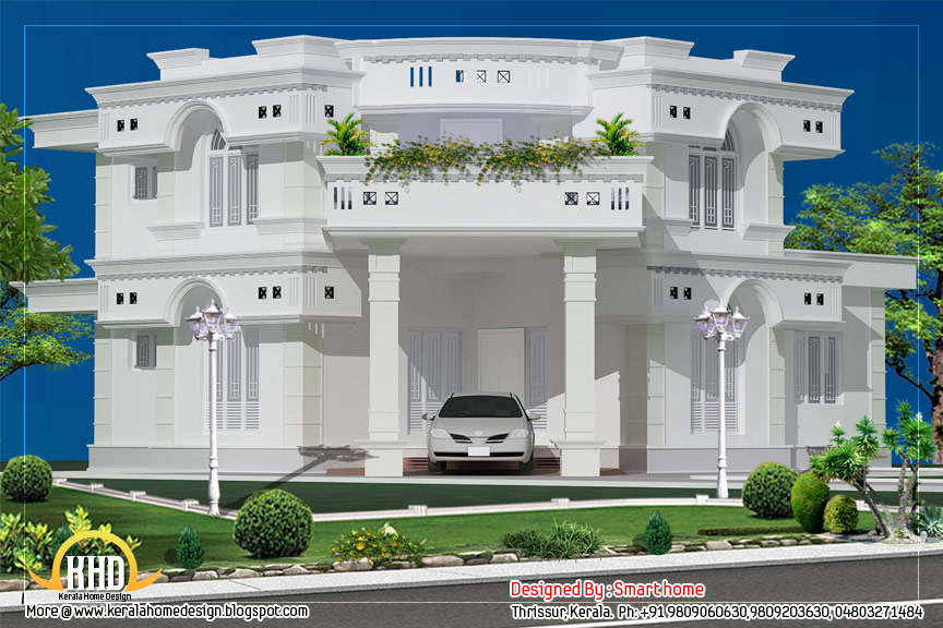 Duplex villa elevation design 1882 sq ft kerala home for Villa design plan india