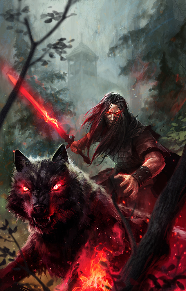 The wolf den wolf fantasy black wolf with warrior for Cool fantasy drawings