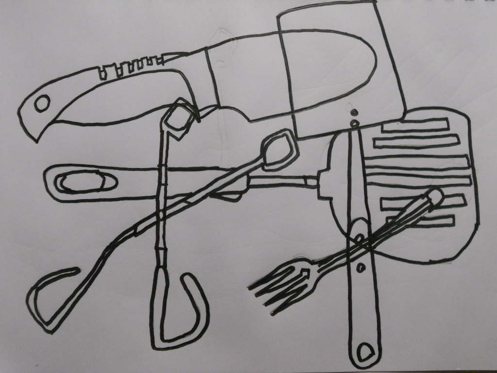 Contour Line Drawing Objects : William schipke s kitchen object contour line and