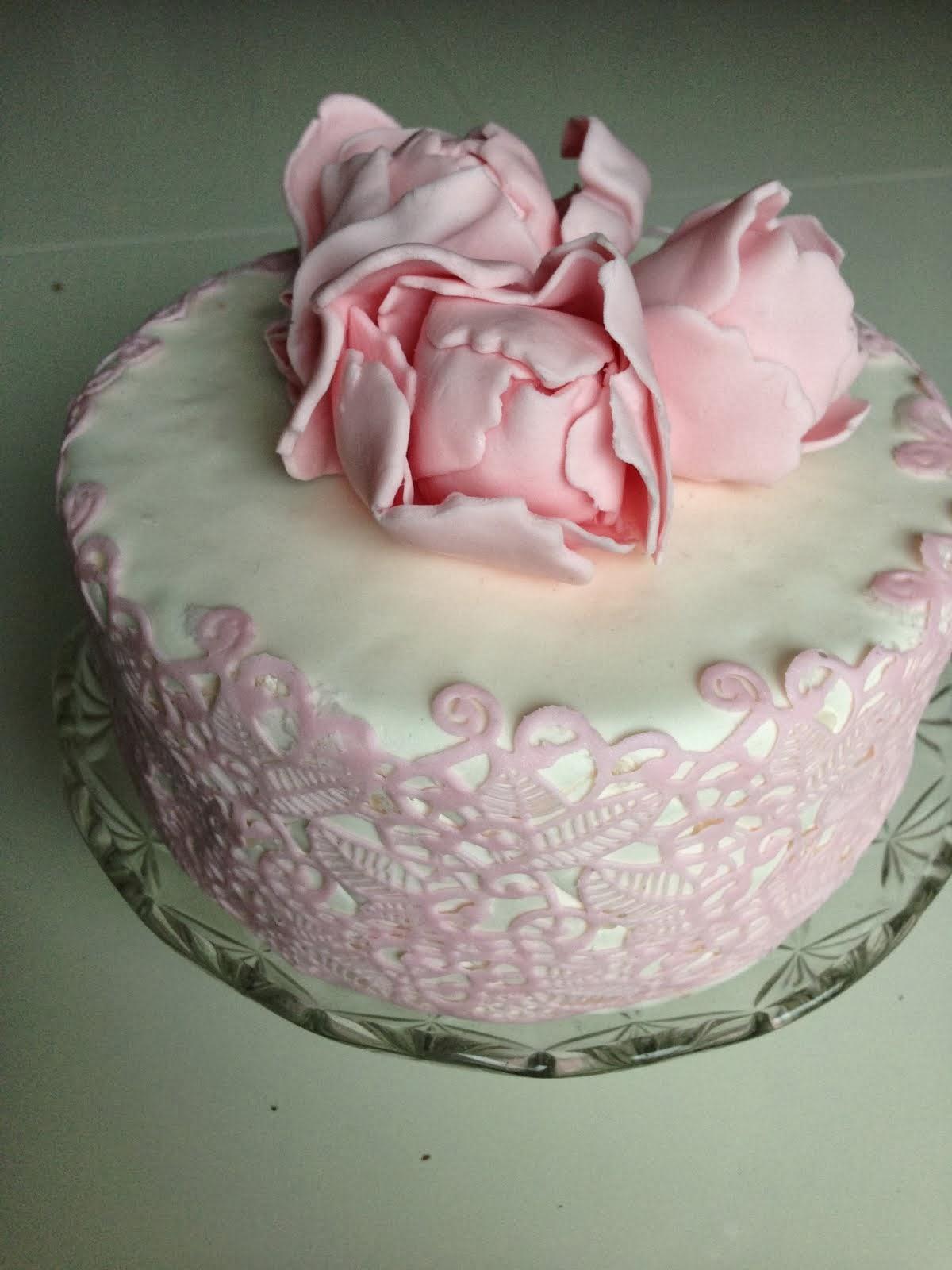 Rosa spets och blommor
