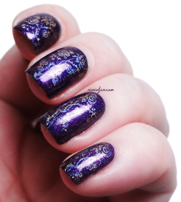 xoxoJen's purple holographic roses stamping nail art