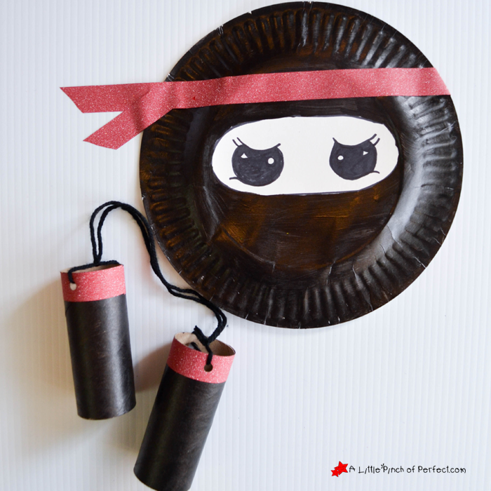 Ninja paper plate and cardboard tube craft for your little