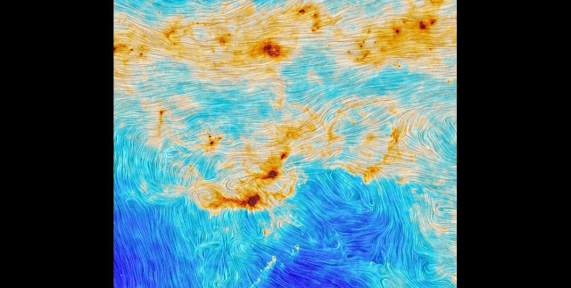 Star formation and magnetic turbulence in the Orion Molecular Cloud. Credit: ESA and the Planck Collaboration