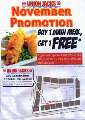Union Jack Fish and Chips November Buy 1 Free 1 Offer
