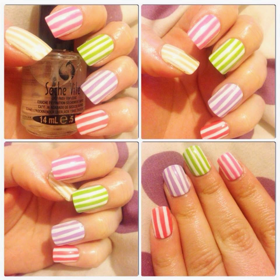 Candy stripes, nail art, sinful colors, nail polish, strips, cute, seche vite, Easter nails, Pastel nails, pink nails, green nails, orange nails, yellow nails, models own nail art pen,