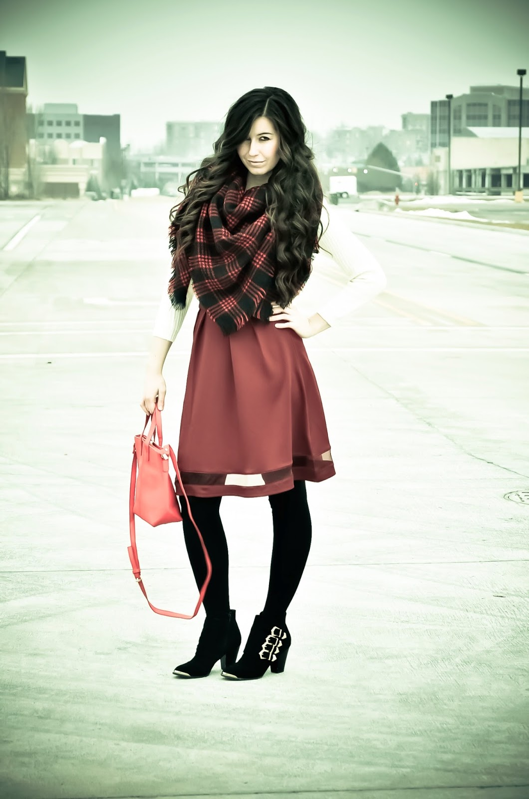 blanket scarf outfit, burgundy and black outfit, burgundy outfit, cozy outfit for winter, crop sweater, cropped sweater, Keeping it cozy wear, blanket scarf, plaid, burgundy and cream outfit, curly hair, sexy photoshoot,
