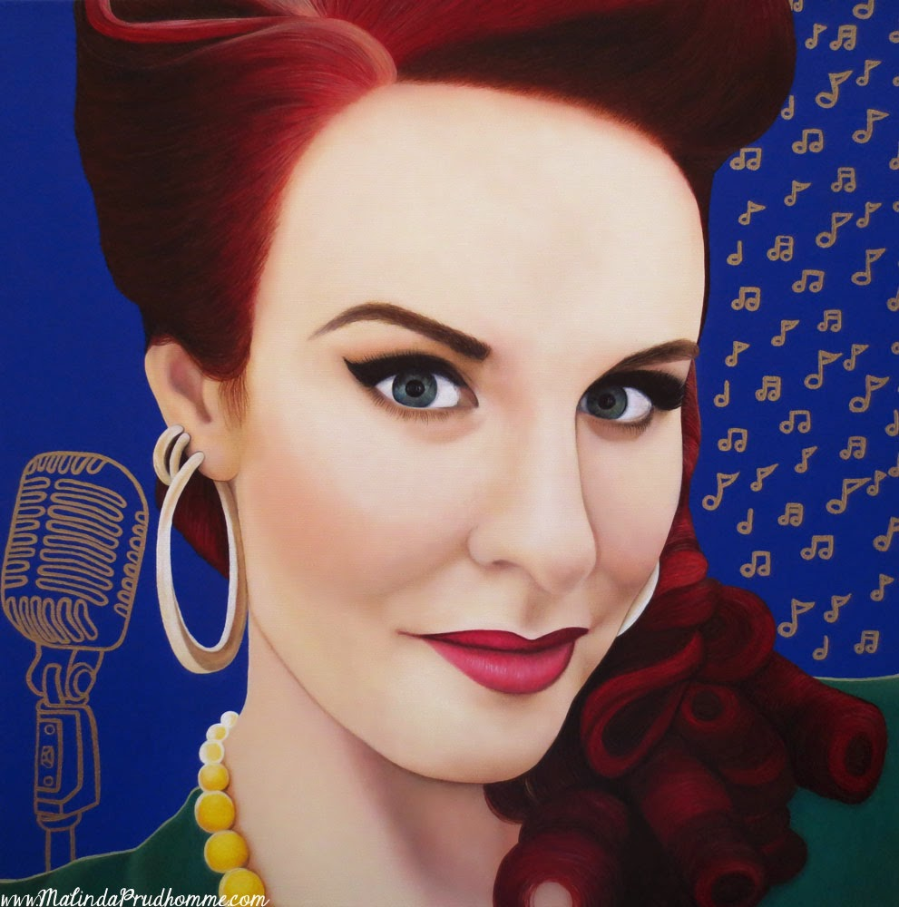 tia brazda, singer, jazz singer, vintage microphone art, vintage art, signer art, beauty art, true beauty, malinda prudhomme, portrait art, toronto portrait artist, realism, portrait painting, canadian artist, realistic portraiture