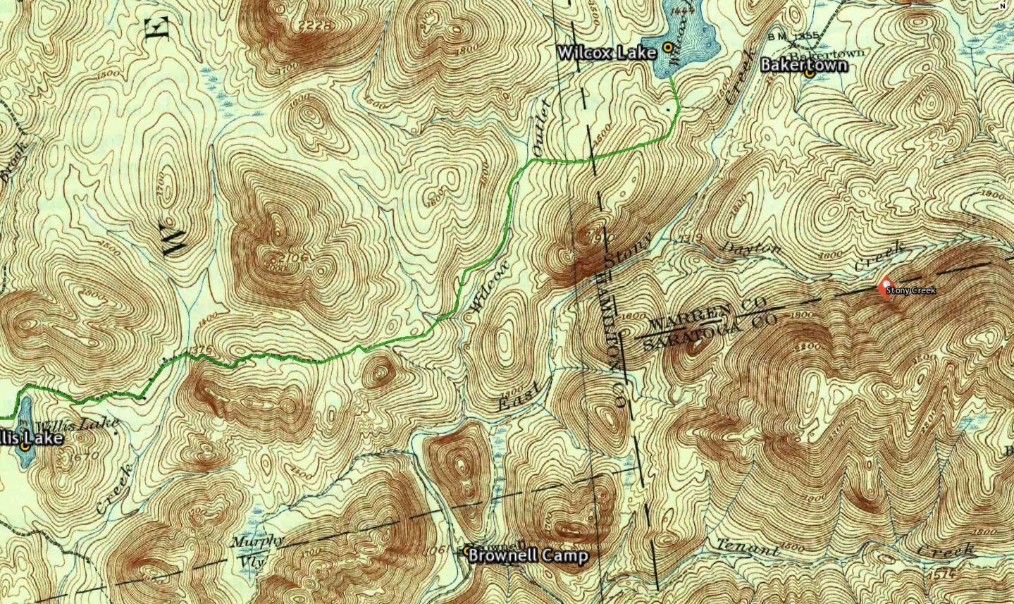 image one from the stony creek usgs historical topographic map 1 62500 1910 edition the route to wilcox lake follows an old woods road from willis lake