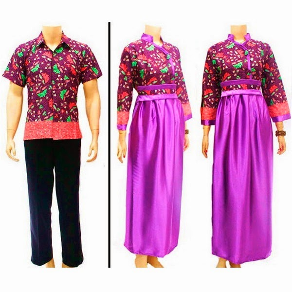 Baju Batik Pasangan Muslim Katun Danliris, Polosan Saten Velvet