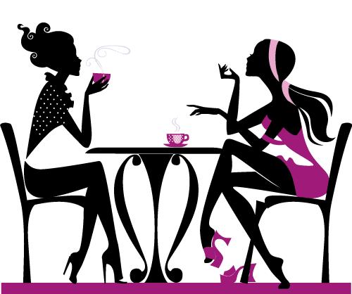 Chicas tomando café 2 - Vector