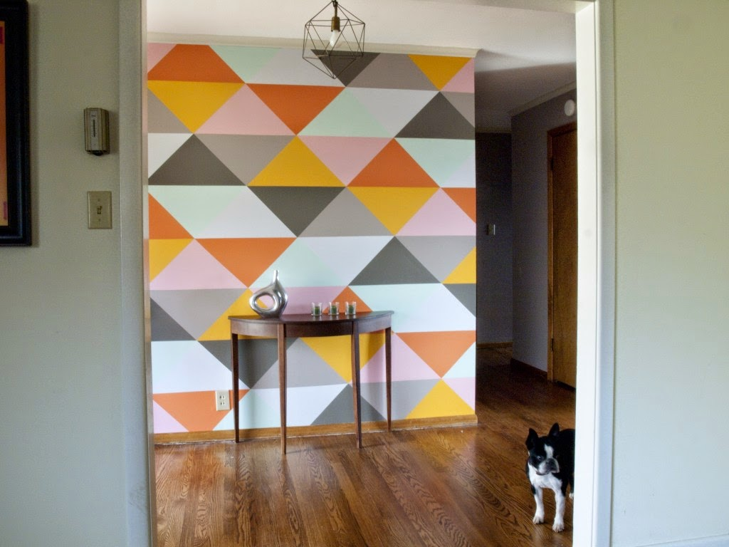 Design fixation geometric color blocking inspiration for Geometric accent wall