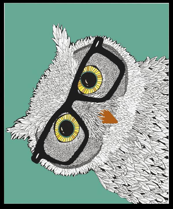 hipster owl gafa pasta búho