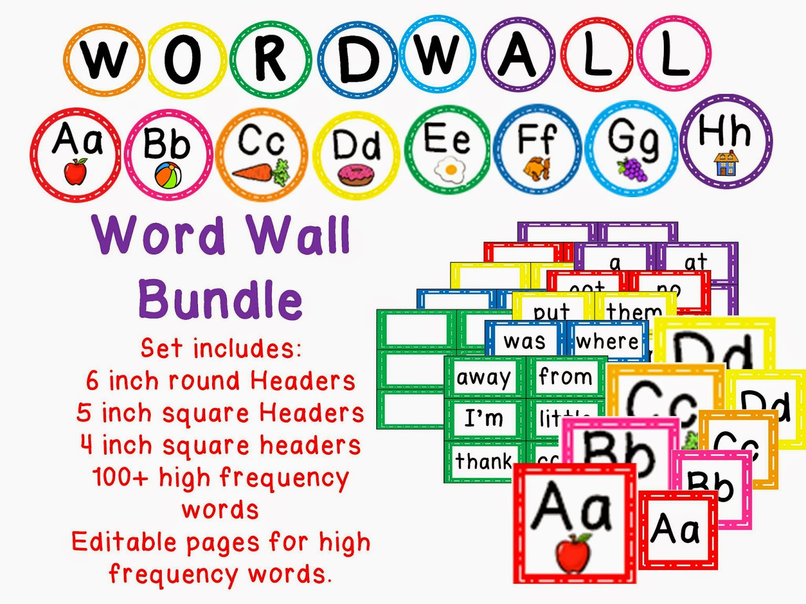 https://www.teacherspayteachers.com/Product/Word-Wall-Bundle-with-heading-label-variety-of-headers-100-words-editable-751845