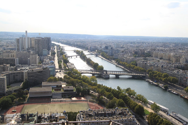 Top view of Paris downtown in different angle from the observation deck of Eiffel Tower in Paris, France