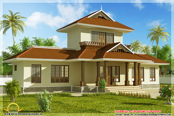 1947 square feet 3 bedroom Kerala style home right side view - May 2012