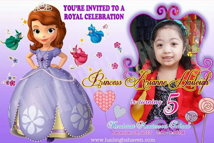 Sofia the first giveaways and party supplies haileighs souvenir haven ready made invitations 10pcspack price 35 pesospack stopboris Gallery
