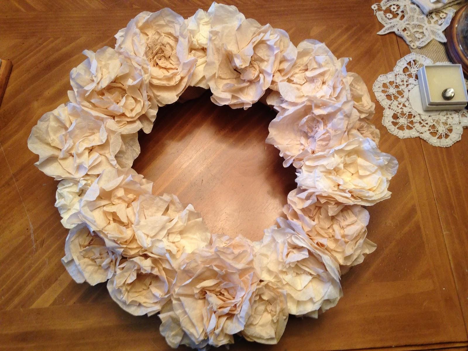 Indulge Your ShelfA coffee filter flower wreath