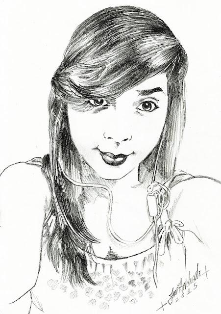 Retrato de uma morena, desenhada a lápis - D3s3nh4nd0