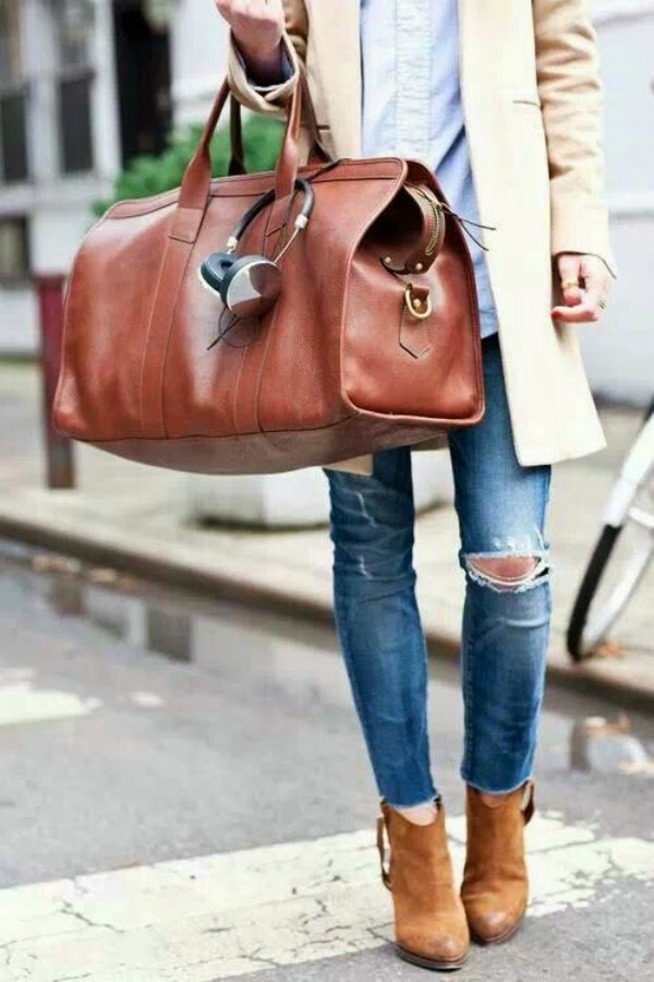 Distressed Jeans and Weekender Bag