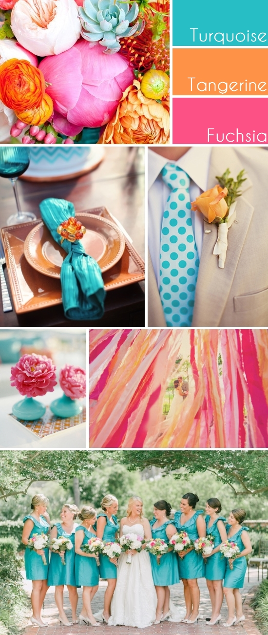 Turquoise, Tangerine and Fuchsia Inspiration Board