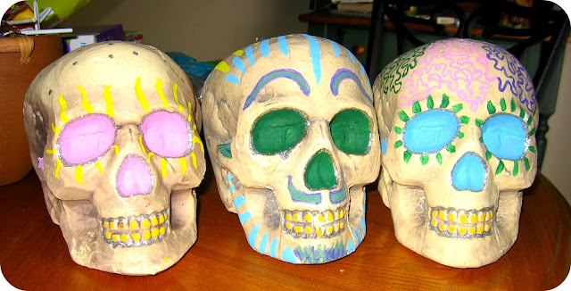painted skulls dia de los muertos and halloween craft