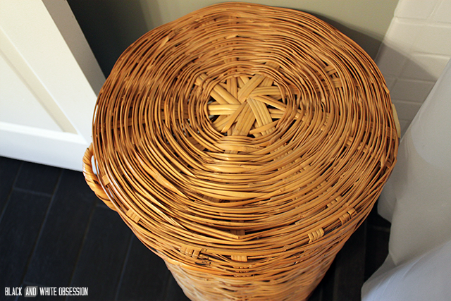 Wicker Laundry Hamper Makeover Before | www.blackandwhiteobsession.com