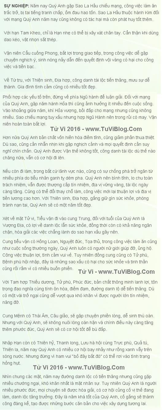 Tu Vi 2016 Ky Ty Nam
