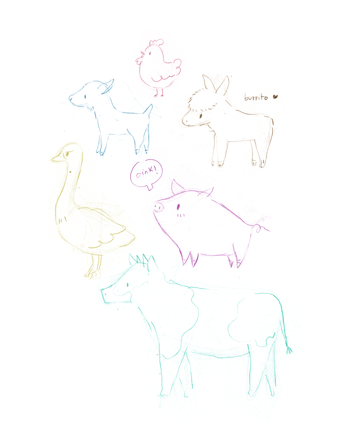 farm animals, animals, illustration, ilustración, cute goat