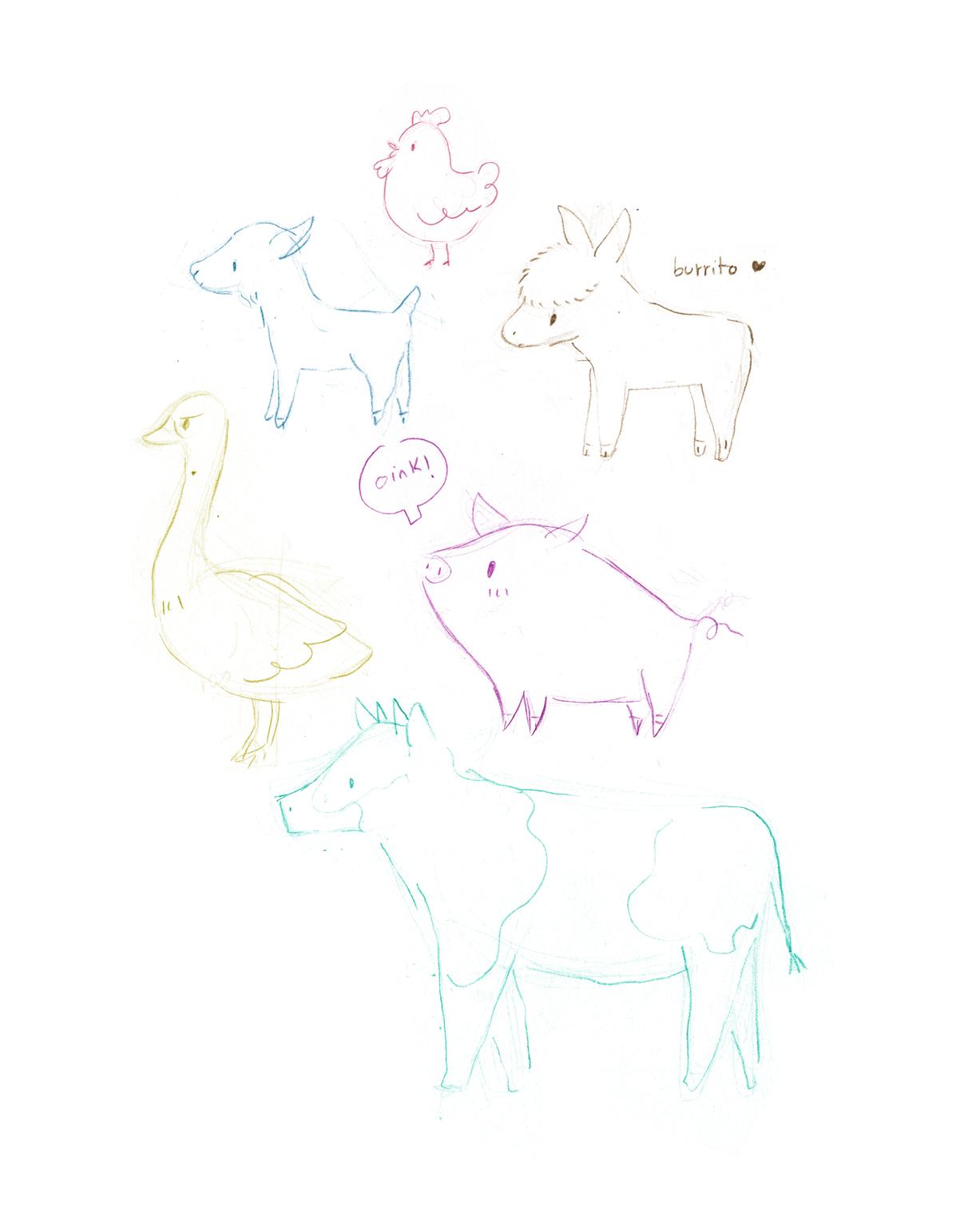 farm animals, animals, illustration, ilustración, cute goat