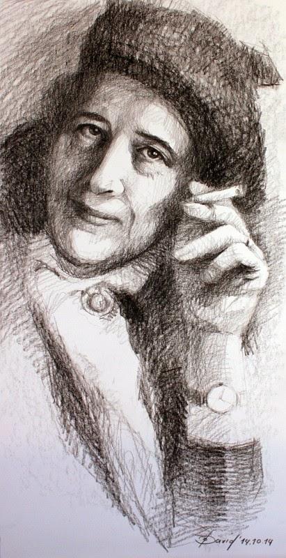 Hannah Arendt gezeichnet von Olga David