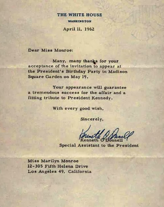 Stars and letters happy birthday mr president dated 11 april 1962 the letter was written by kenneth odonnell special assistant to the president thanking marilyn for accepting the invitation to the stopboris Choice Image