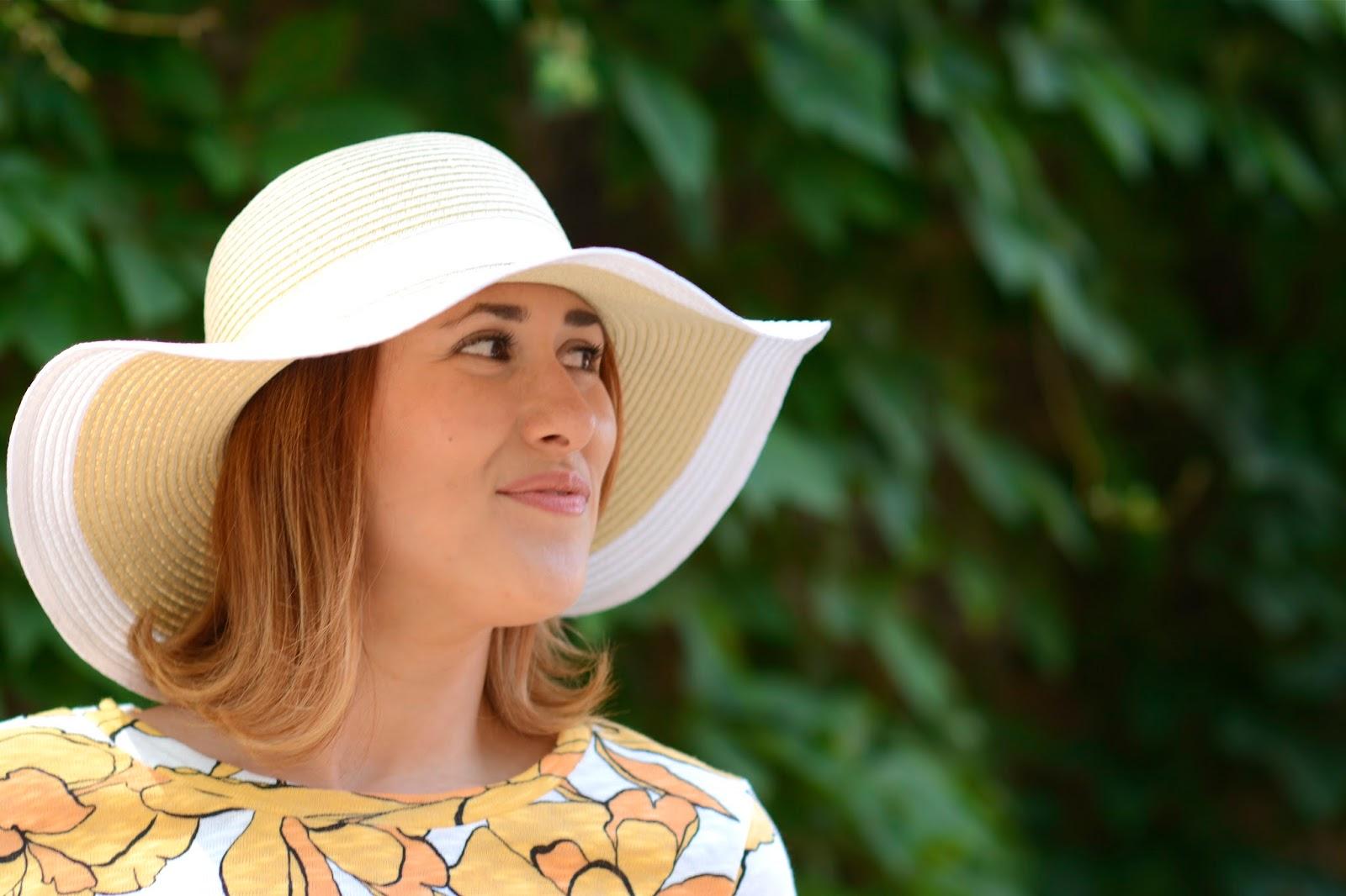 white, sun, hat