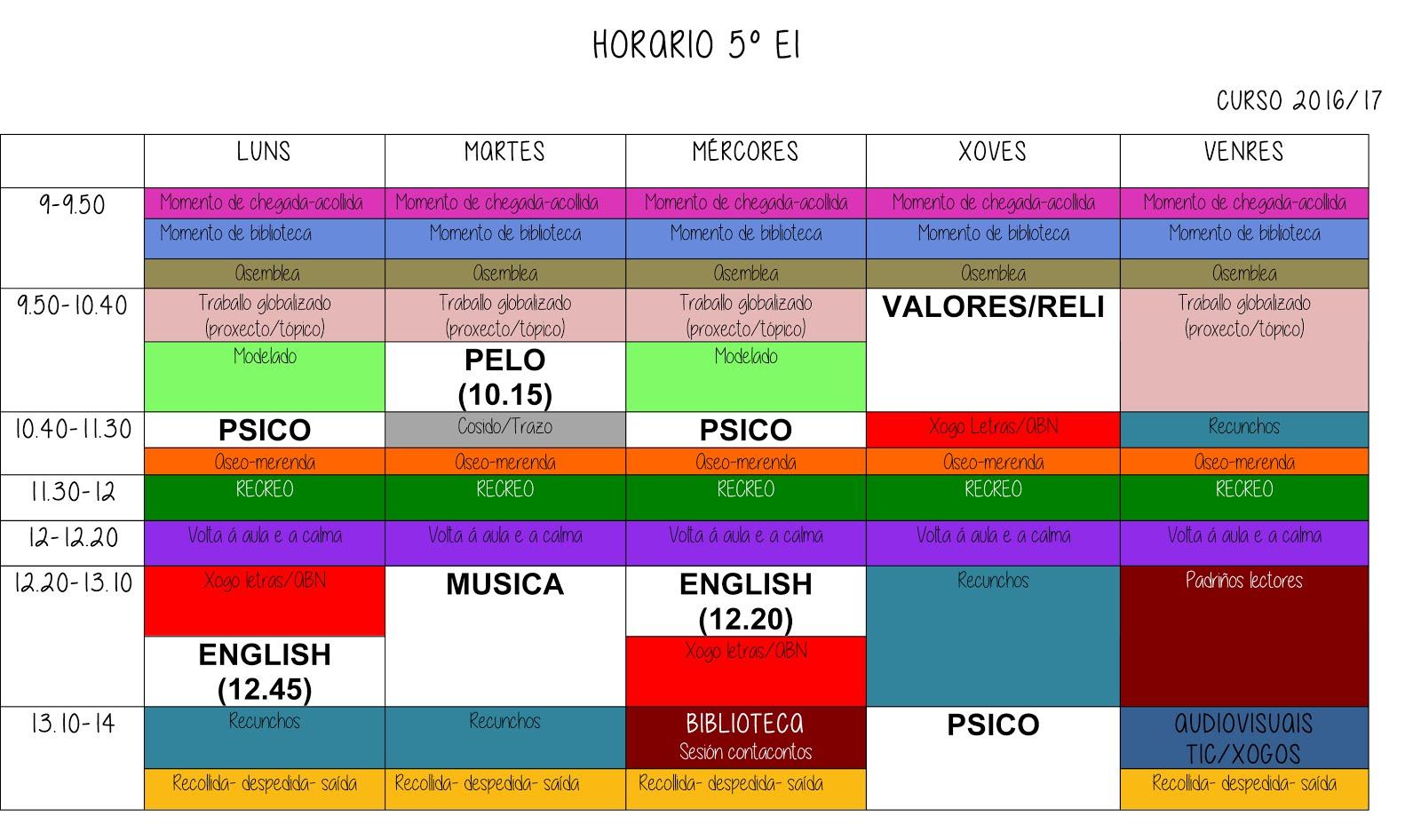 O noso horario