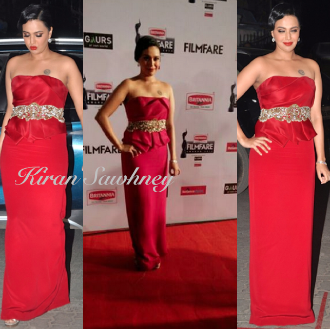 Swara Bhaskar At Filmfare Awards 2015 in Notte By Marchesa