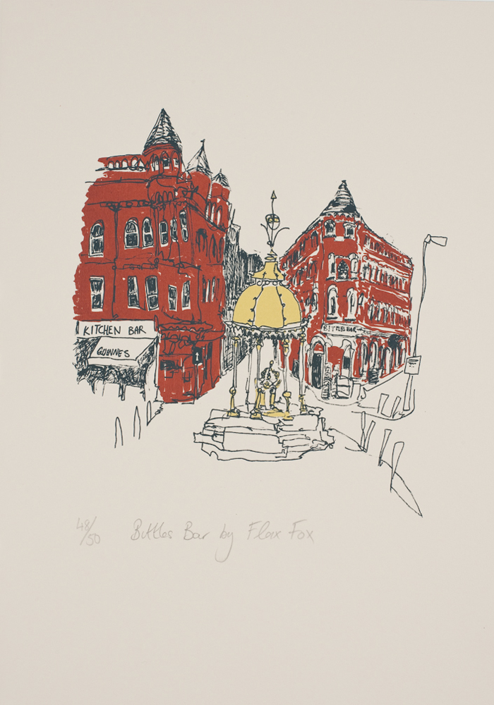 Bittles Bar print by Flax Fox, Belfast
