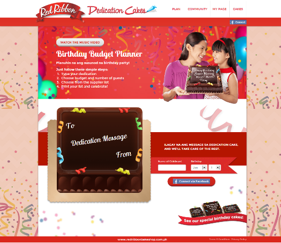 Red Ribbon Dedication Cakes Birthday Budget Planner