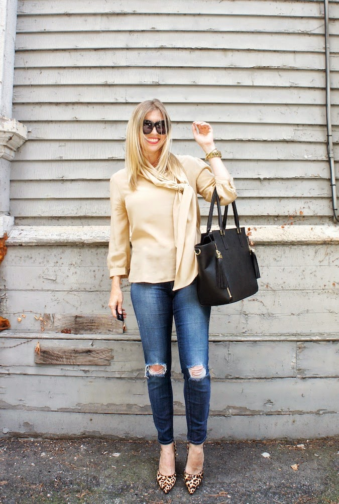 pussy bow blouse, J Brand jeans, H&M bag, House of Harlow Chelsea, Nine West leopard, boston blogger