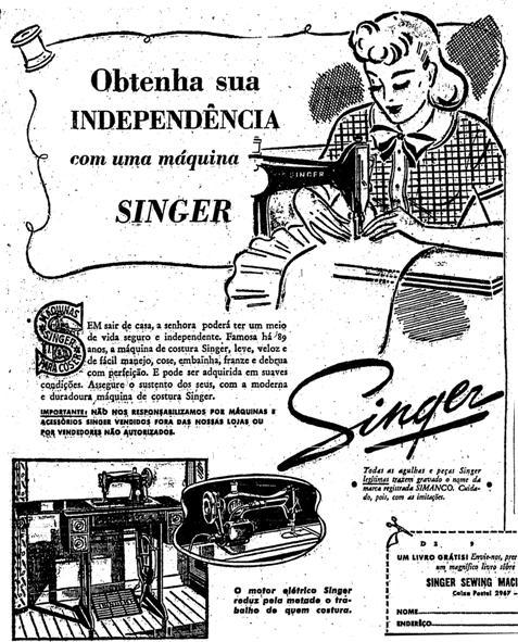 Propaganda da Máquina de Costura Singer em 1940.