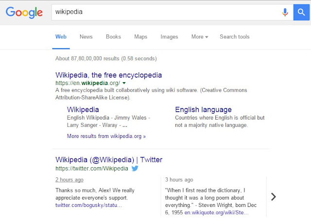 Live Tweets for Wikipedia Website in Google Search