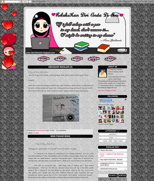 Tempahan : Full Blog Edit & Design For  Novelis Nazrina Hussin