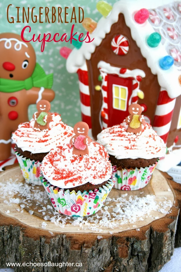 Gingerbread Cupcakes with Cream Cheese Frosting - Echoes of Laughter