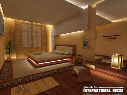 Japanese bedroom, Japanese style bedroom, bedroom suspended ceiling lighting