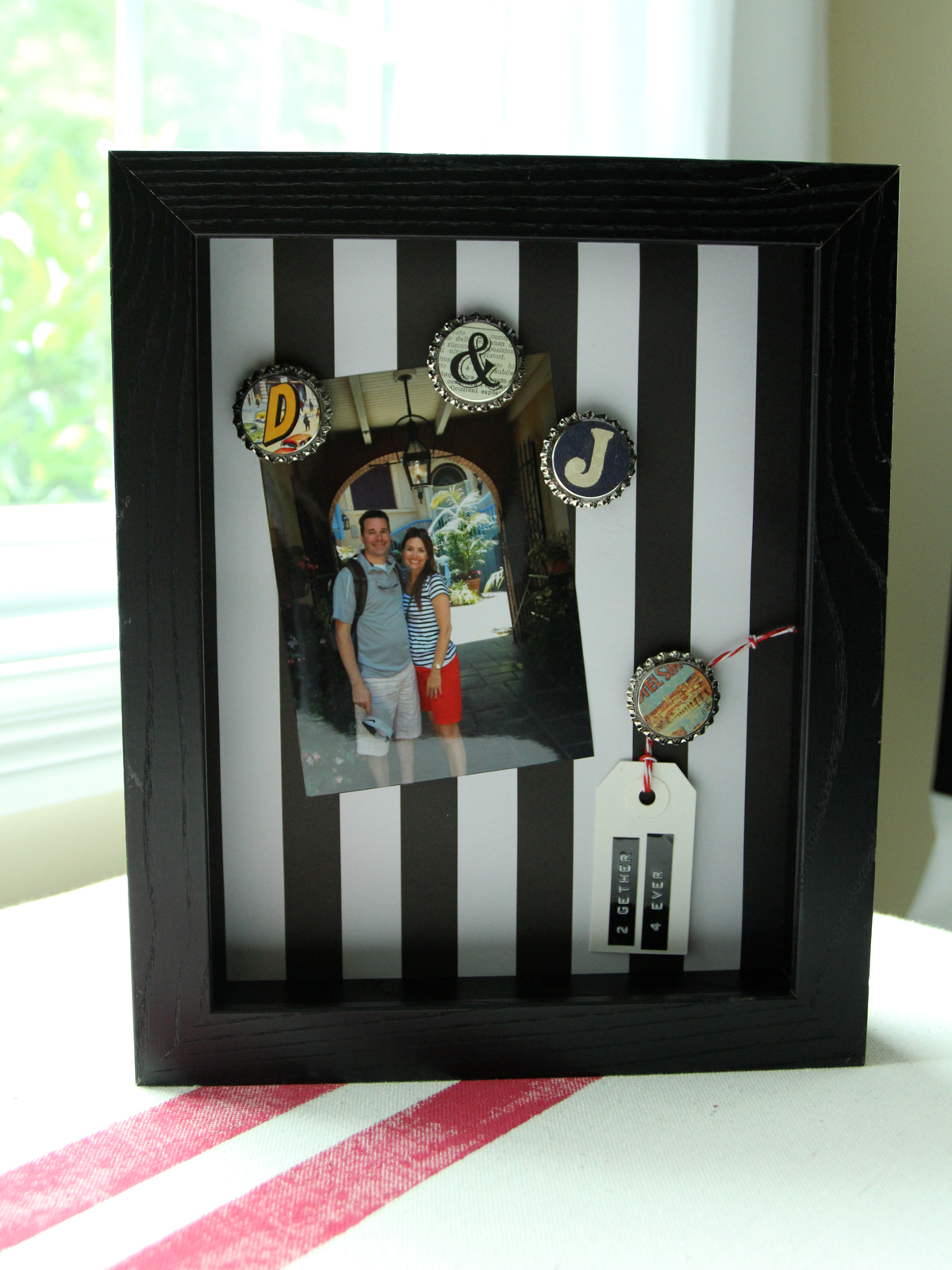 DIY Metal Frame with Bottle Cap Magnets   Less Than Perfect Life of ...