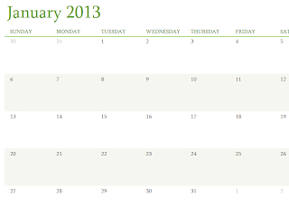 Monthly 2013 Calendar template