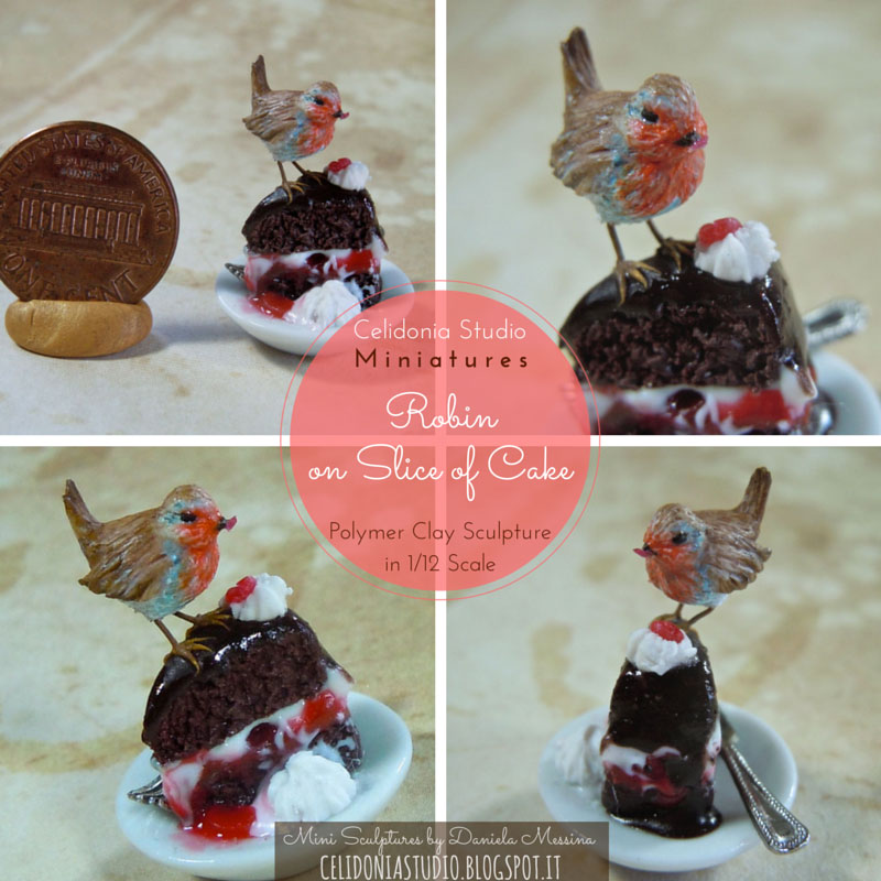 Robin Redbreast on Slice of Cake 1/12 scale - Sculpture by Daniela Messina