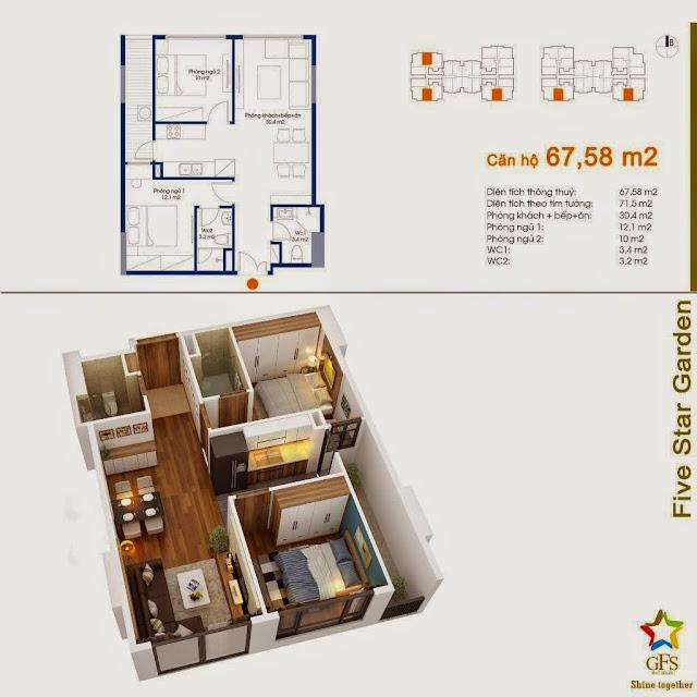 Diện tích căn hộ 67,68m2 Five Star Garden
