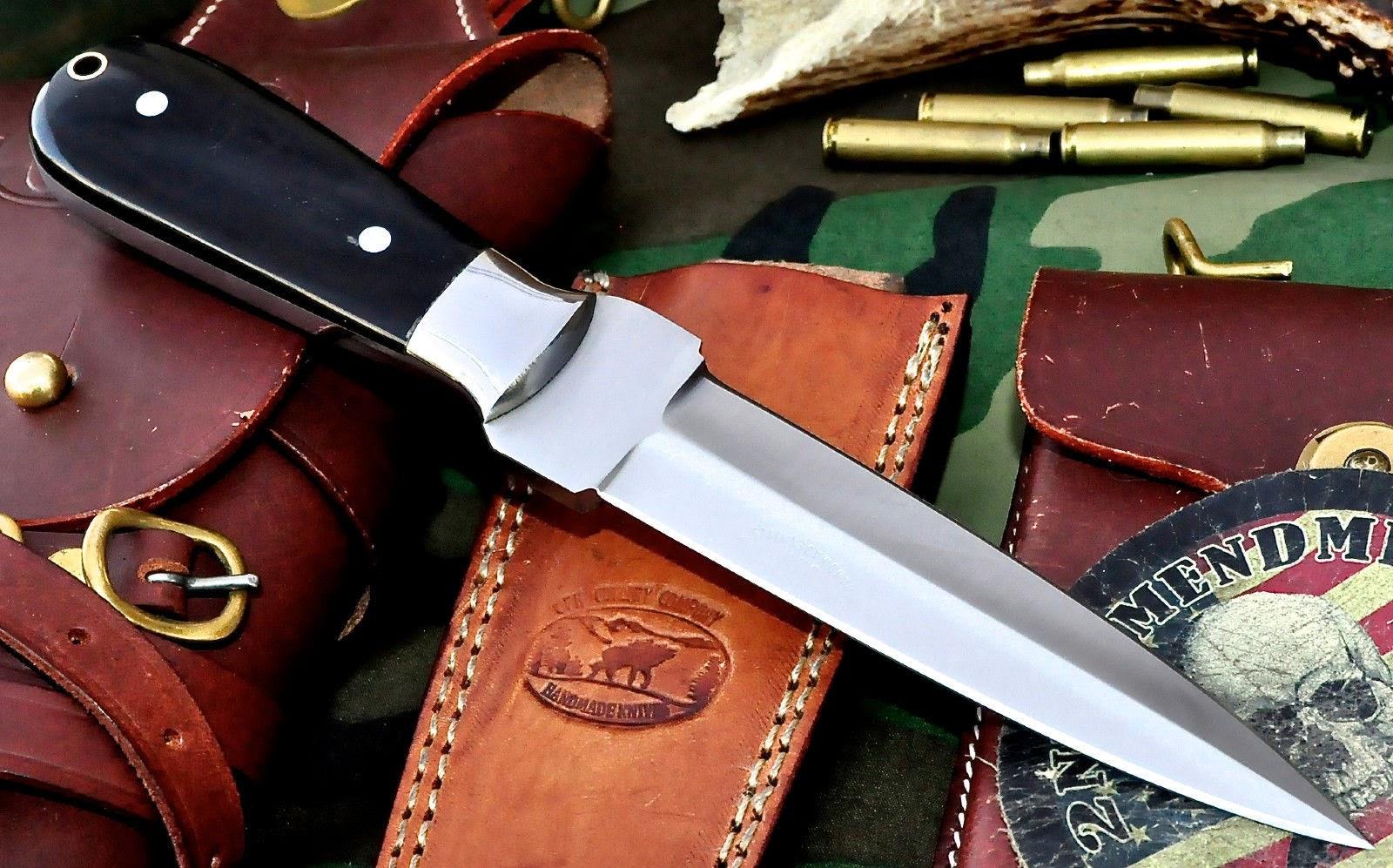 CFK USA Custom Handmade D2 Tool Steel Horn Dirk Double Edge Dagger
