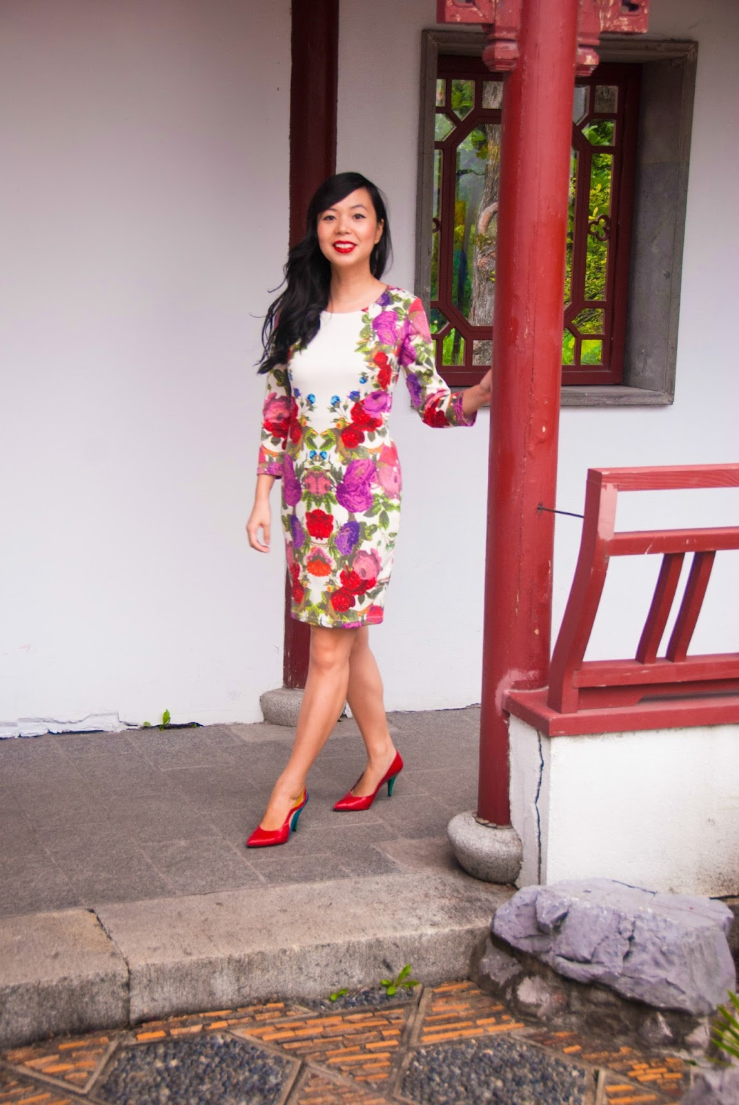 floral garden dress cutout backless colorblock heels pumps red lips