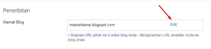Klik Edit pada Penerbitan - Alamat Blog